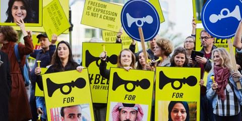Demonstration für die Freilassung von inhaftierten saudischen FrauenrechtlerInnen. Den Haag, Oktober 2018. © Pierre Crom