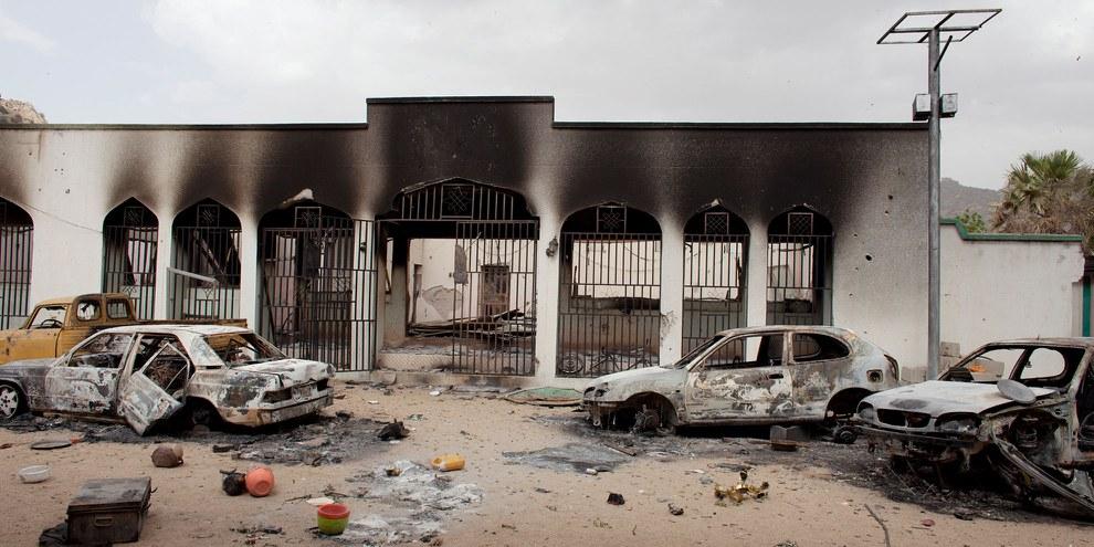 Teil des zerstörten Palastes von Emir, der Boko Haram als Basis gedient hat und nun vom nigerianischen Militär wieder übernommen wurde. © Jane Hahn for the Washington Post
