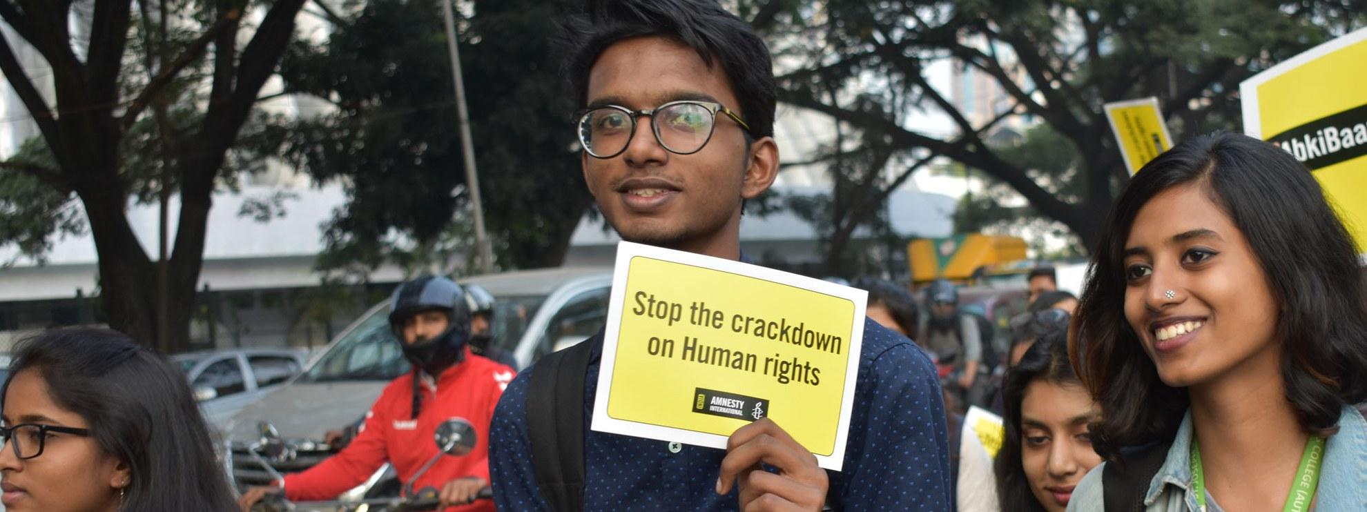 Marsch für Menschenrechte in Bangalore, Indien, am Tag der Menschenrechte, 10. Dezember 2018. © AI India