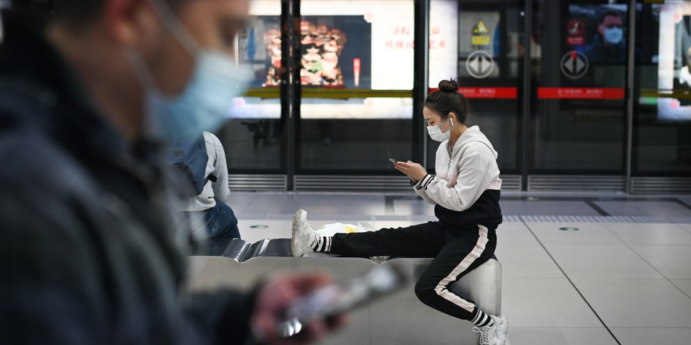 U-Bahn-Station in Beijing, April 2020. © WANG ZHAO/AFP/Getty Images