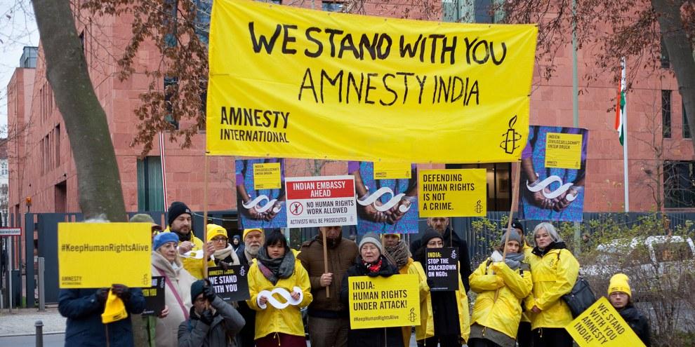 Soldiaritätsaktion für Amnesty Indien in Berlin. ©  Amnesty International / Jan Petersmann