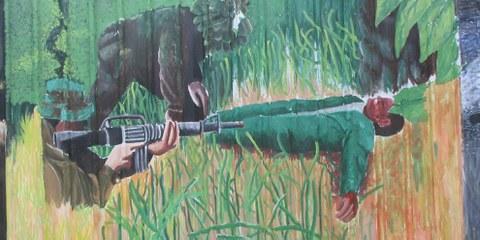 Wandmalereien an der Kaserne in Port Moresby, Indonesien © Amnesty International