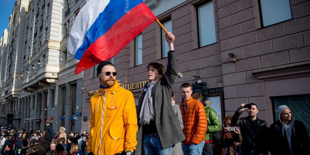Protest auf Russlands Strassen: Aktivisten demonstrieren gegen Korruption in Moskau.  © Alexander Utkin/AFP/Getty Images