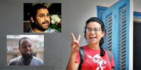 Mahienour el-Masry (1) / Portrait oben: Alaa Abdel Fattah (2) / Portrait unten: Mohamed el-Baqer (3) © 1: Hossam el-Hamalawy, 2: FILIPPO MONTEFORTE/AFP/Getty Images, 3: STR/AFP/Getty Images/ Private
