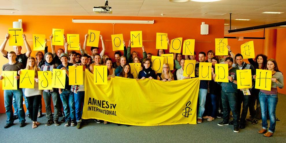 Aktion von Amnesty in Münchenstein für die Freilassung Nasrin Sotoudehs 2012. © Amnesty International