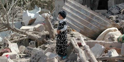 Jemenitischer Junge nach einem Luftangriff auf seine Wohngegend. © AFP/Getty Images
