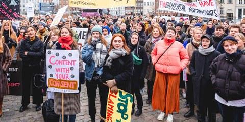 Frauen, die eine Vergewaltigung anzeigen, werden oft nicht ernst genommen oder sogar stigmatisiert. Kundgebung für Frauenrechte in Kopenhagen. ©  Jonas Persson