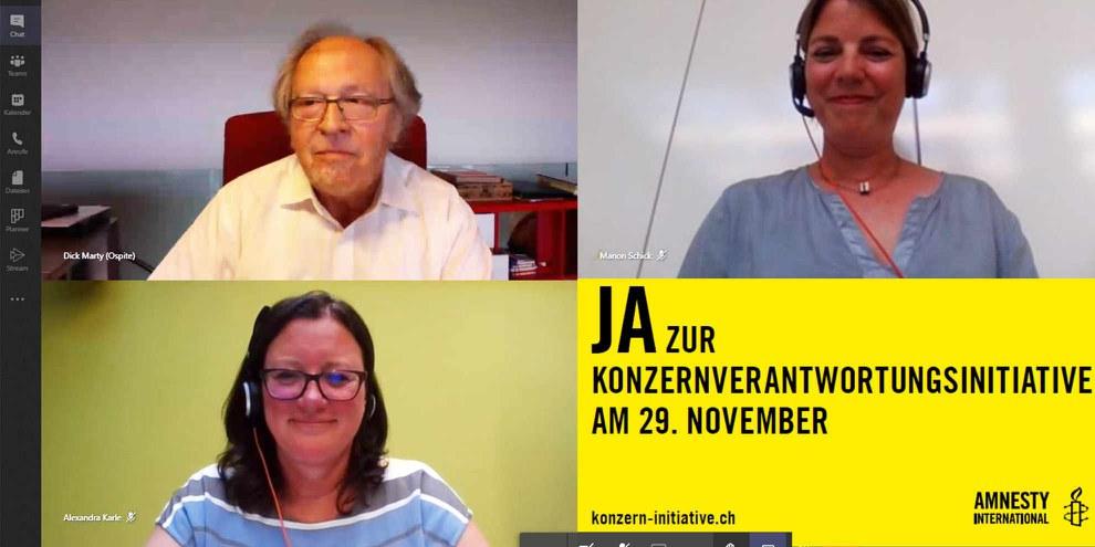 Virtuelle Generalversammlung der Schweizer Sektion von Amnesty International, 30. Juni 2020 © AI