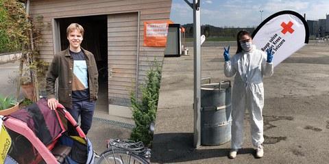 Engagiert trotz Coronavirus: Dario Heierli und Denise Brechbühl ©Dario Heierli/Denise Brechbühl