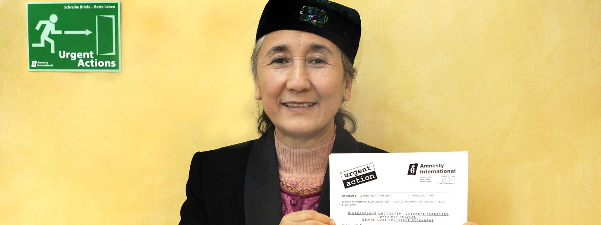 Grâce aux milliers de lettres, écrites par les membres d'Amnesty, les conditions de détention de Rebiya Kadeer se sont améliorées. © Stephan Anderegg