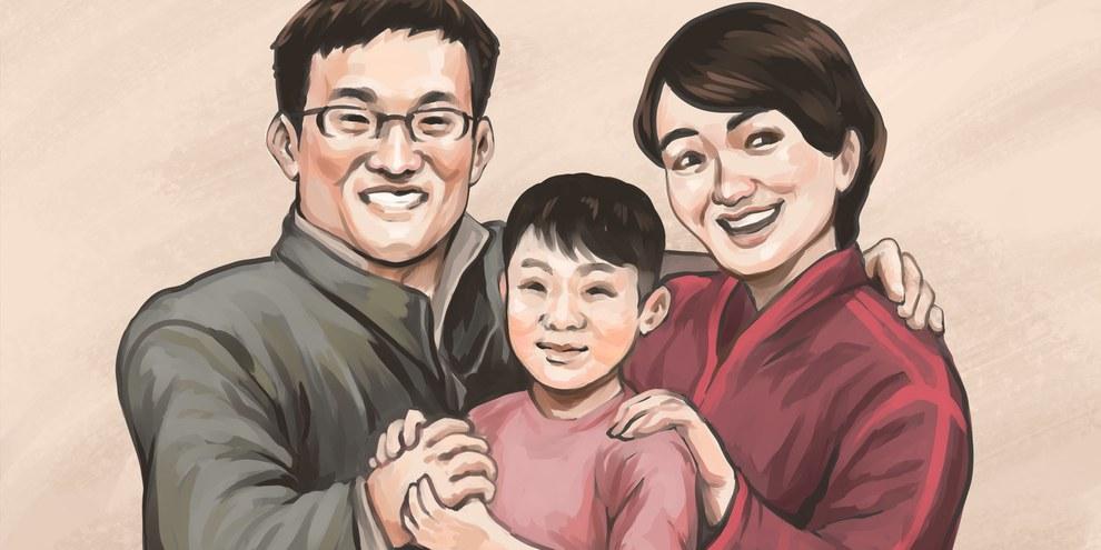 Wang Quanzhang, sa femme Li Wenzu et son fils  © privée
