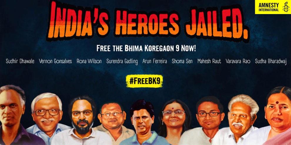 Affiche de campagne d'Amnesty India pour «Les neuf de Bhima Koregaon» © Amnesty India