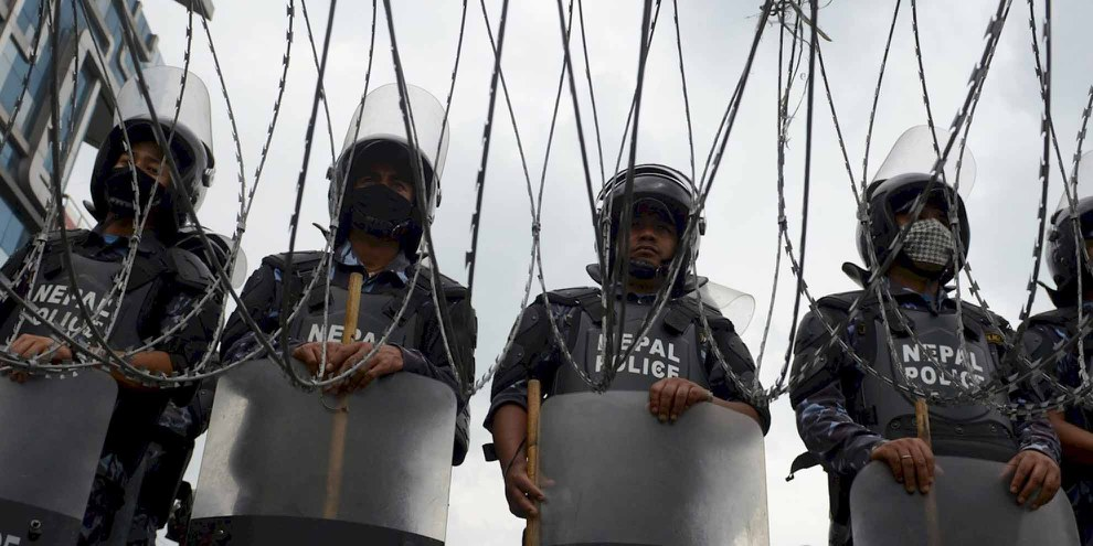 Police népalaise. © PRAKASH MATHEMA/AFP/Getty Images