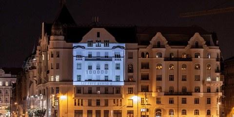 Projection sur le Ministère de la Justice à Budapest, Hongrie 18/09/2018. © Martin Jani