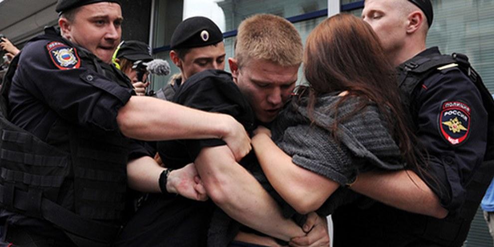 Des militants ont été arrêtés lors de manifestations contre les lois  homophobes à Moscou. © VASILY MAXIMOV/AFP/Getty Images