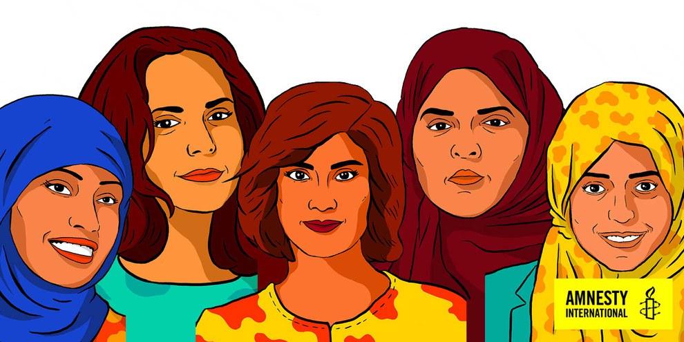 Loujain al-Hathloul, Iman al-Nafjan, Aziza al-Youssef, Samar Badawi et Nassima al-Sada © Amnesty International