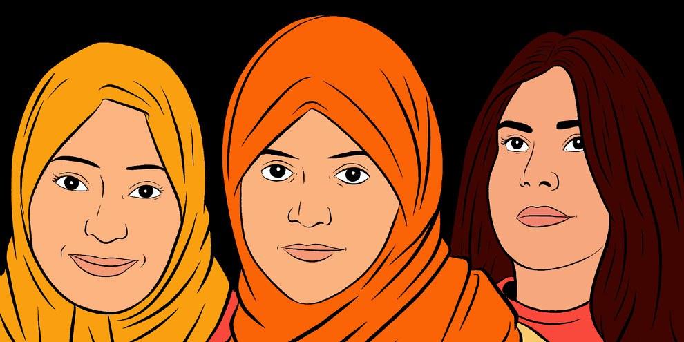 Samar Badawi, Nassima al-Sada et Loujain al-Hathloul (de gauche à droite) sont en prison depuis deux ans pour avoir fait campagne pour les droits des femmes saoudiennes. © Amnesty International