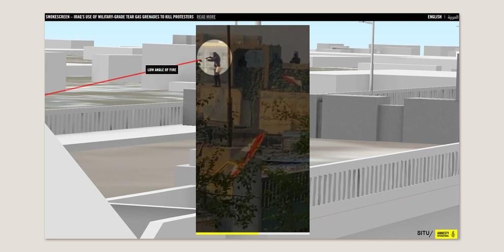 Reconstitution en 3D des événements autour de la place Tahrir, octobre 2019 © Amnesty International et SITU Research