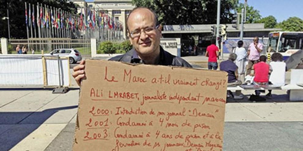 Le 24 juin 2015, Ali Lmrabet a entamé une grève de la faim à Genève. | © Droits réservés