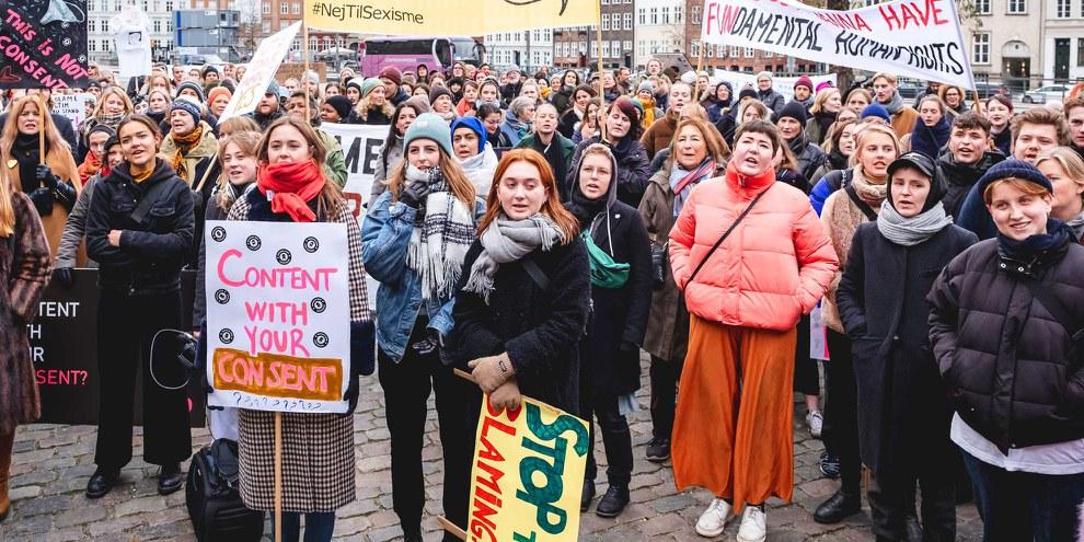 Les femmes qui signalent un viol ne sont souvent pas prises au sérieux ou même stigmatisées. Manifestation pour les droits des femmes à Copenhague. ©Jonas Persson