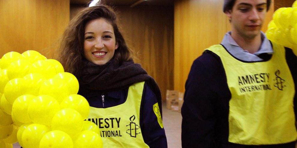 Elisa et Mirko du groupe Jeunes de Morges lors du Youthmeeting de 2016 © Amnesty International