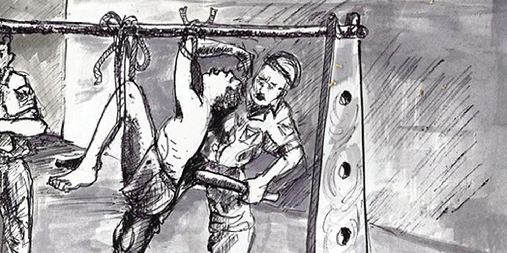 Disegno di Chjioke Ugw Clement di una scena di tortura   © Chijioke Ugwu Clement